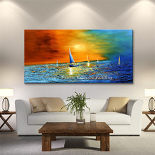 Canvas oil painting caudros decoracion Acrylic boat sailing abstract blue painting wall art pictures for living room quadros04