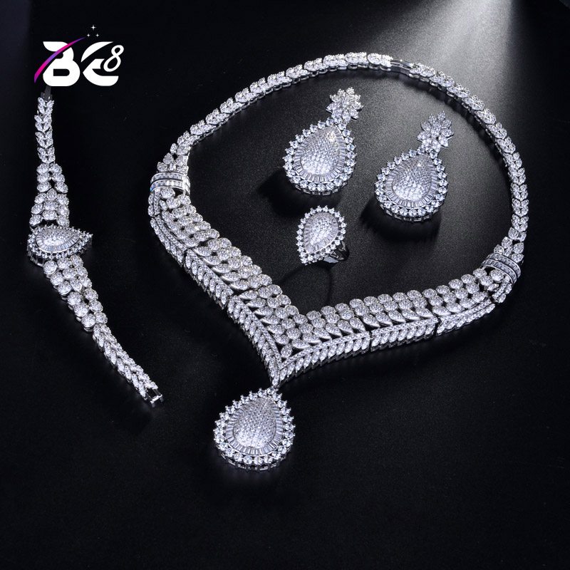 Be 8 Latest Fashion Crystal Bridal Jewelry Sets African Beads AAA CZ Wedding Necklace Earrings Bracelet Sets for Women S179