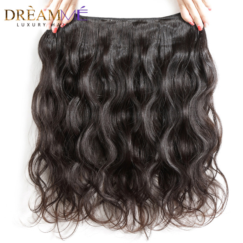 Dream me 13x4 Lace Frontal Closure With 3 Bundles Brazilian Body Wave Remy Human Hair Extensions Natural Color Weave-in 3/4 Bundles with Closure from Hair Extensions & Wigs    3