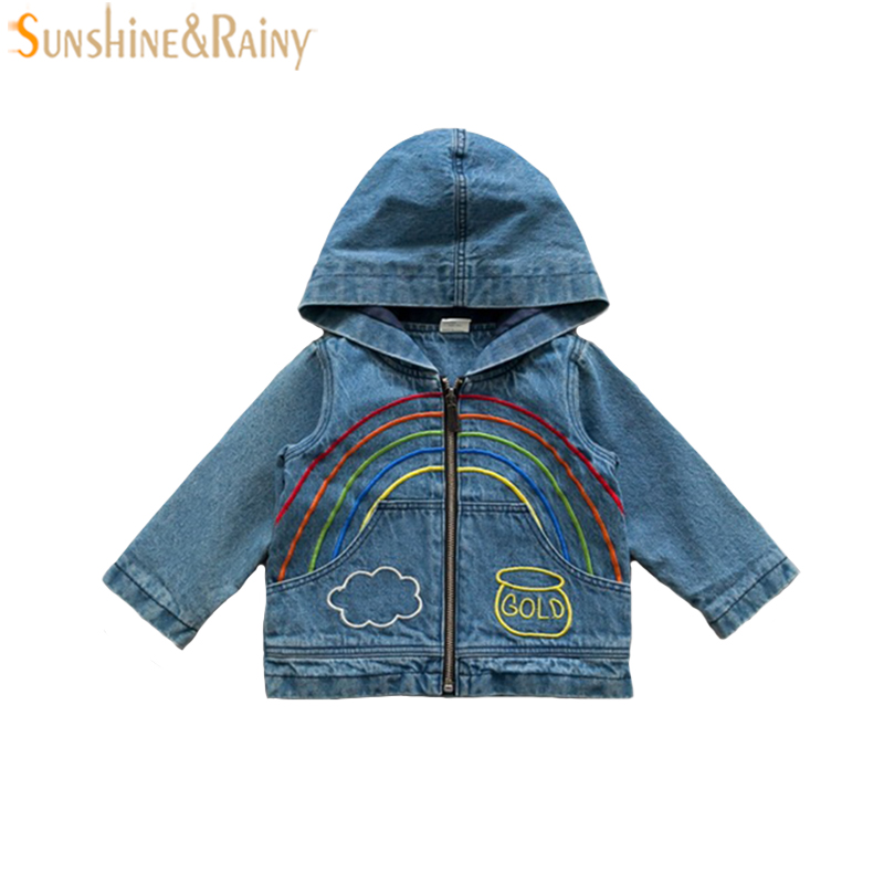 2017 Baby Outerwear Coat For Girl Boy Jeans Jacket Autumn Embroidery Rainbow Kids Denim Coat Hooded Toddler Girls Cardigan New