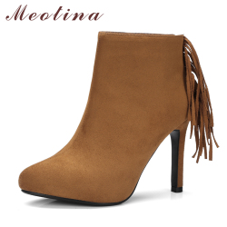 Meotina ankle boots women platform shoes thin high heels round toe fringe shoes winter boots zip.jpg 250x250