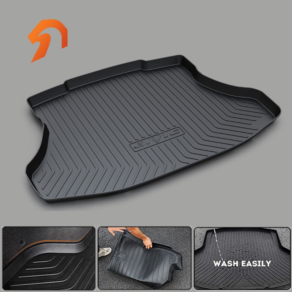 Rubber Rear Trunk Cargo Tray Rear Trunk Cover Floor Mats For HONDA FIT ODYSSEY CR-V CIVIC CIIMO CITY  2011-2017 3D car-styling 3d car styling custom fit car trunk mat all weather tray carpet cargo liner for honda odyssey 2015 2016 rear area waterproof