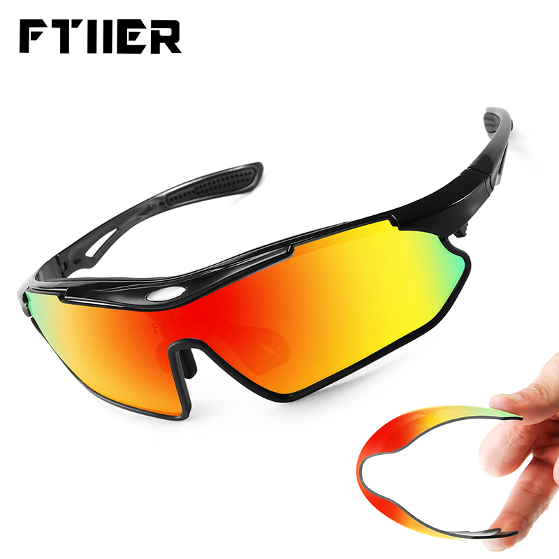 Ftiier Bicycle Sunglasses <font><b>5</b></font> <font><b>Lens</b></font> Polarized Cycling <font><b>Glasses</b></font> Men Women TR90 Outdoor Sport MTB Fishing Running Riding <font><b>Bike</b></font> Eyewear image