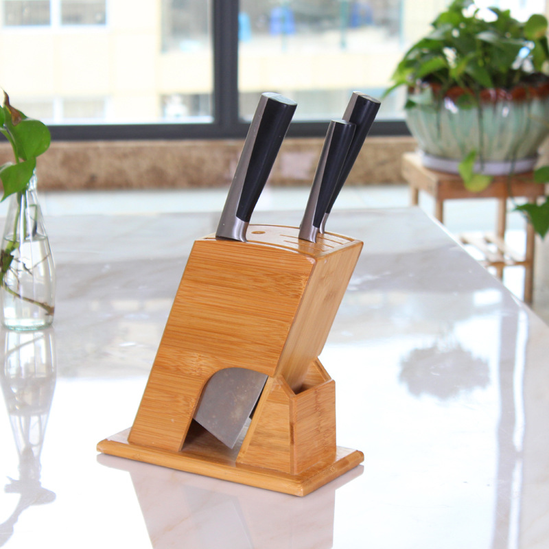 Bamboo Tool Holder Knife Block Knife Rack Tool Rack Kitchen Supplies Wood Knife Rack Bamboo Knife Storage Rack