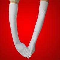 Il trasporto libero 2 accoppiamenti Elastico spandex guanti galateo bianco disegno lungo della protezione solare anti-uv sottile da sposa manica del braccio
