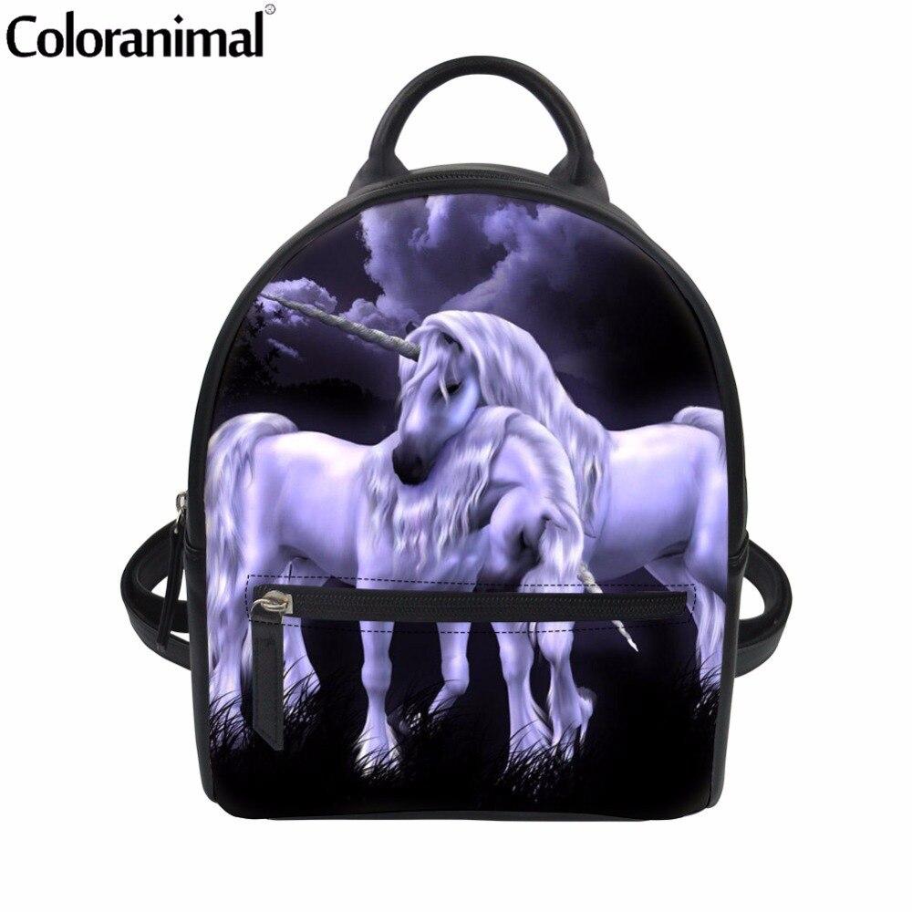 Coloranimal Cute 3D Animal Horse Print Brand Designer Women Men Shopping Mini Backpack Teenager Girl School Shoulder Book Bag