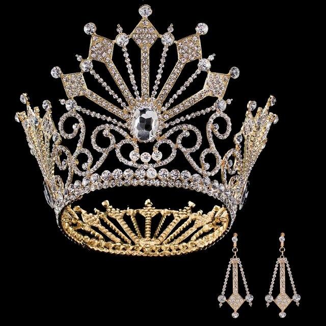 563701b255 Cristal al por mayor princesa tiara Pendientes novia reina corona de lujo  europeo gran corona de