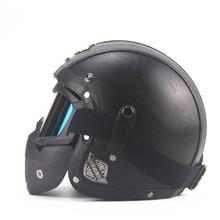 Dorosłych Skórzane Wysokiej jakości Chopper Harley Kasków 3/4 Kask Motocyklowy kask Rowerowy otwarta twarz rocznik motocykla kask motocros