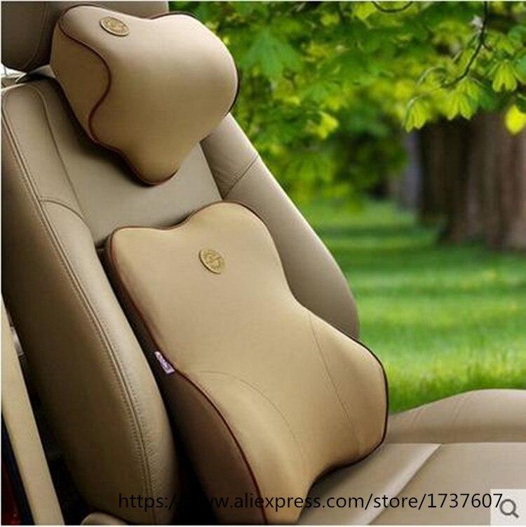 Haute qualité espace mémoire mousse voiture soutien lombaire oreiller Auto cou oreiller appui-tête lombaire oreiller petits trous tissus oreiller