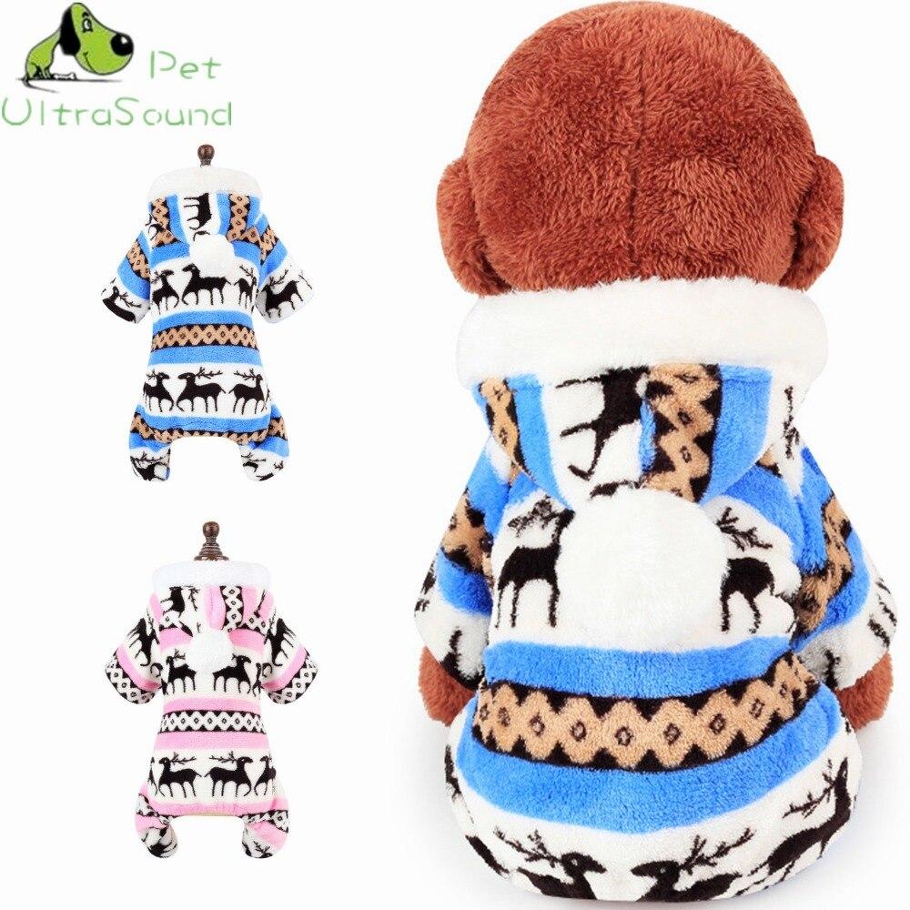 Ultrasonido mascotas Otoño Invierno warm fleece acolchado jumpsuit ...
