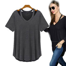 PraPra M-5XL Modal V Neck Hollow Out Solid Plus Size T Shirts Women Summer Loose Top Tees Short Sleeve Fashion t-shirts Female