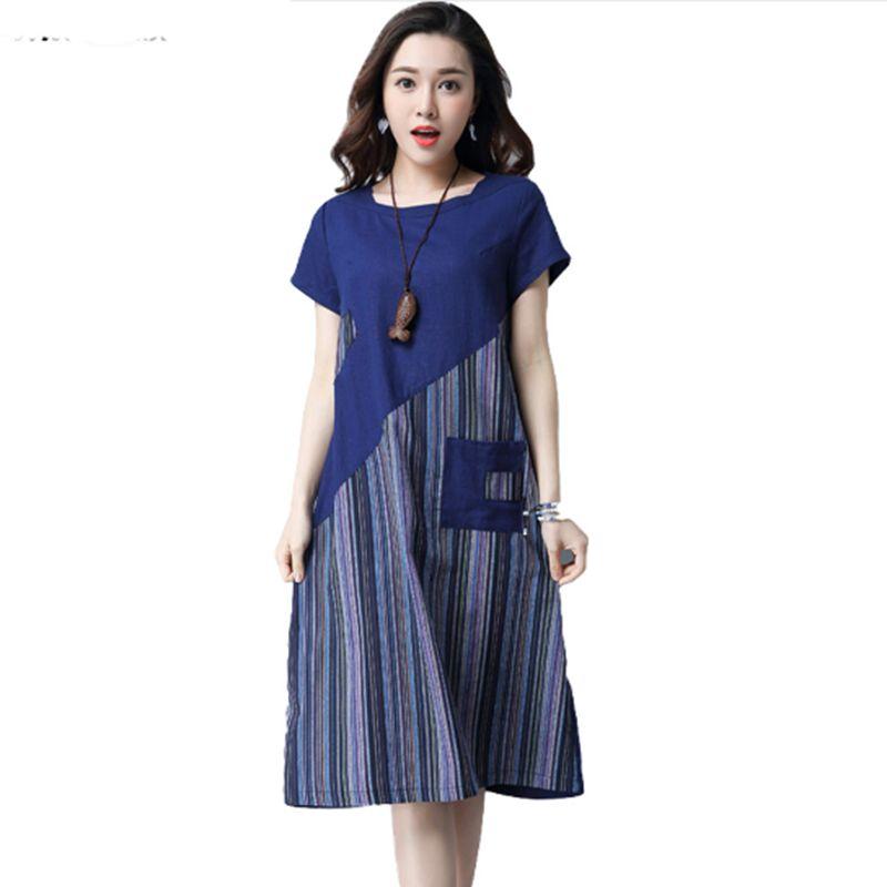 2018 Women Summer Linen cotton Floral Striped Vintage Retro Style Female O-Neck Short sleeve Pocket Casual Loose Dresses CM009 1