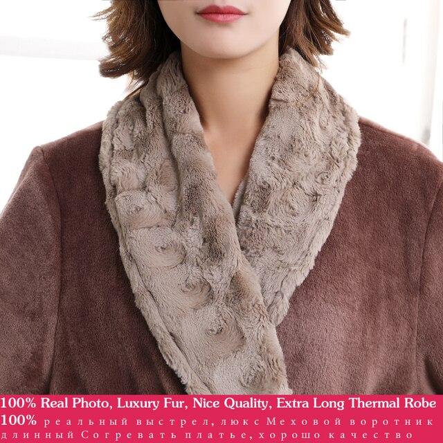 Women Men fur Neck Thick Warm Long Flannel Bathrobe Plus Size Kimono Bath Robe Winter Peignoir Dressing Gown Bridesmaid Robes