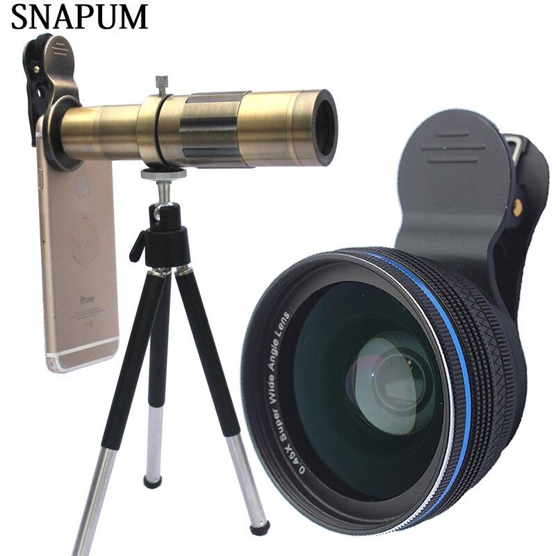 SNAPUM mobile téléphone 12x 18x 20x télescope + 0.45x objectif grand + 10x macro 3 en 1 lentilles Pour Huawei oppo vivo iphone samsung