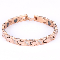 2019 fashion Girls jewelry female Charm Bangles CZ stone rose gold color 18.5cm magnetic bracelets for women
