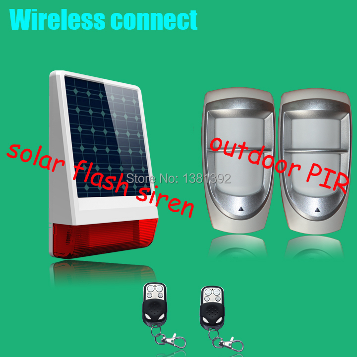 free shipping Wireless WaterProof spot alarm system include Outdoor Dual Pet Immunity PIR Motion Sensor  +outdoor solar  siren