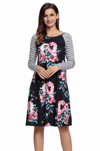 S-2XL Casual A-line Loose Knee-Length T-shirt Dress Floral