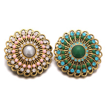 10pcs/lot High Quality Gold Snap Jewelry Rhinestone Metal Snap Button fit 18mm Snap Buttons Bracelet Bangle Necklace Jewelry