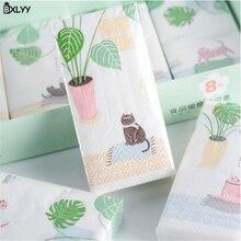 BXLYY креативный платок с принтом бумажный трехслойный мультфильм растение кошка Дети День рождения украшение принадлежности. 7z