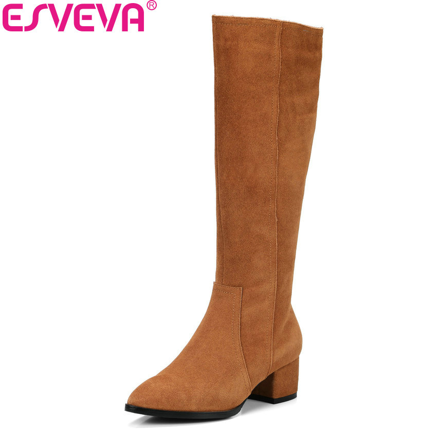ESVEVA 2018 Women Boots Pointed Toe Slim Look Cow Suede+PU Over The Knee Boots Square High Heels Warm Fur for Boots Size 34-39 esveva 2018 women boots zippers square high heels appointment warm fur pointed toe ankle boots chunky ladies shoes size 34 39