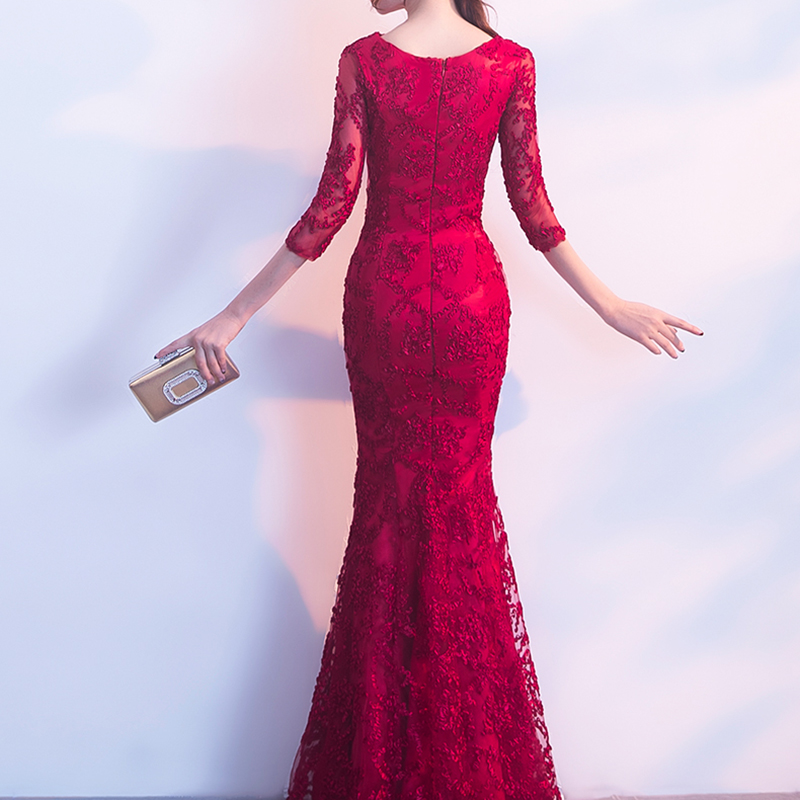 Image 5 - DongCMY Long Formal Sleeve Evening Dresses Burgund Color Vestido Plus Size Party Evens Gowns-in Evening Dresses from Weddings & Events