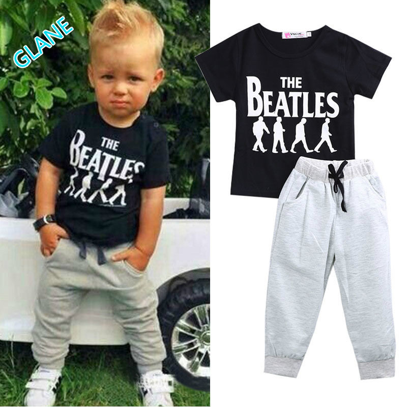 2016 2pcs Baby Boy Kids Short Sleeve T-shirt Tops +Pants Outfit Clothing Set Suit Sports Suit For Baby Kids Boy Clothes 2016 hot selling baby kids girls one piece sleeveless heart dots bib playsuit jumpsuit t shirt pants outfit clothes 2 7y