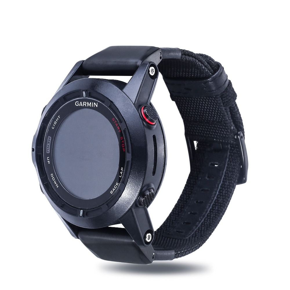 Nylon Woven Genuine Leather Watch Band for Garmin Fenix 3 Replacement Wristband for Desent MK1/Tactix Bravo/Foretrex 601 Strap цена