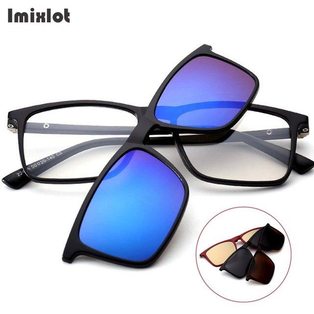 Imixlot Óculos De Sol Das Mulheres Dos Homens Polarizados Óculos Clipe  Magnético Ímã Clip On Óculos a08e82ad5d
