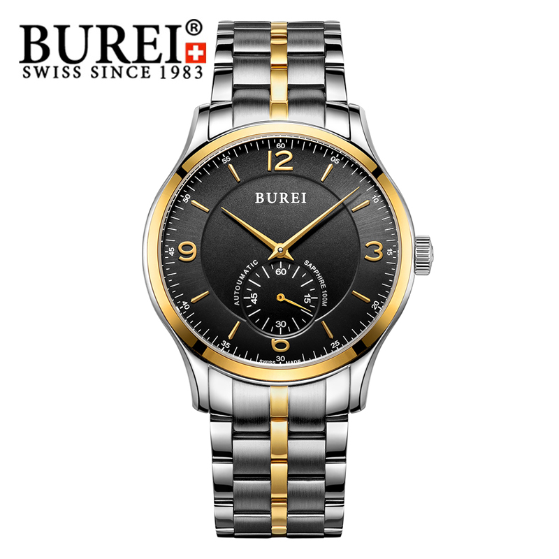 BUREI Fashion Watch Men Genuine Leather Automatic Sapphire Luxury Wristwatch Real Second Dial Waterproof Hours Relogio