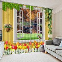 3D Curtain Printing Blockout Polyester Bird Photo Drapes Fabric For Room Bedroom Window Watercolor Decor Treatment Drapes Oct25