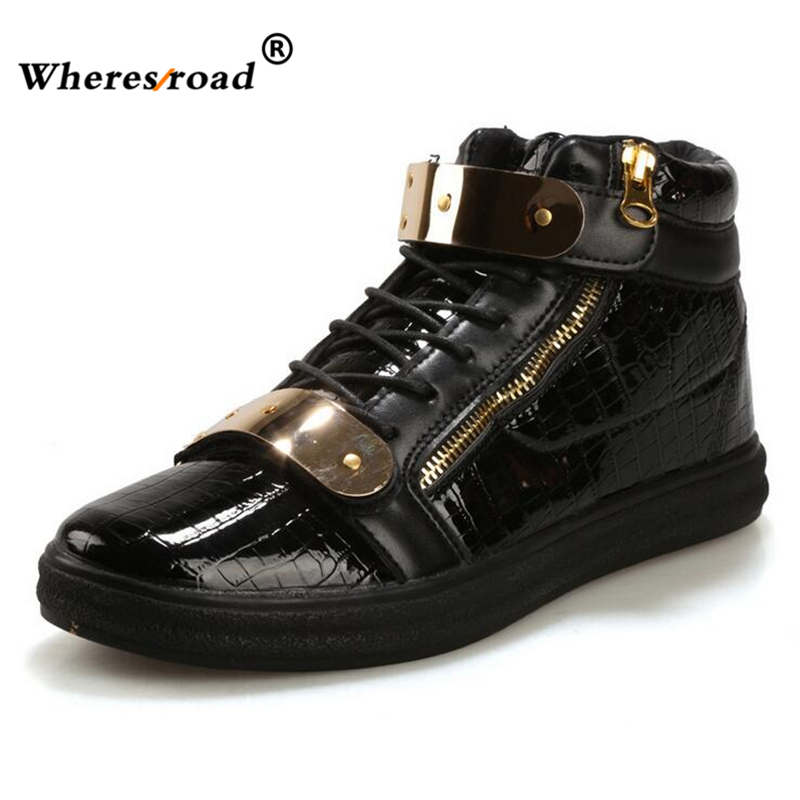 Wheresroad brand Trend of High Shoe Men's Casual Shoes Hundred Metal Iron Titles Leisure Tide Winter Fashion Men Timber Sneaker