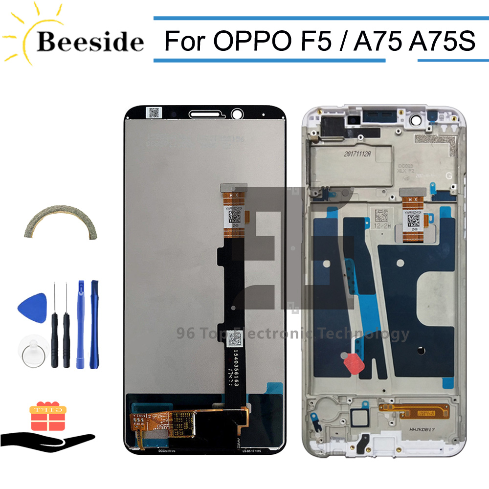 AA+ Quality LCD + Frame 6.0'' For <font><b>OPPO</b></font> <font><b>F5</b></font> CPH1727 LCD <font><b>Display</b></font> Touch Screen Digitizer Assembly Replace For <font><b>OPPO</b></font> A75 A75S CPH1723 image