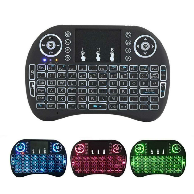 5pcs Mini Wireless Keyboard 2.4ghz English Russian 3 colour Backlit Air Mouse with Touchpad Remote Control For Android TV Box PC