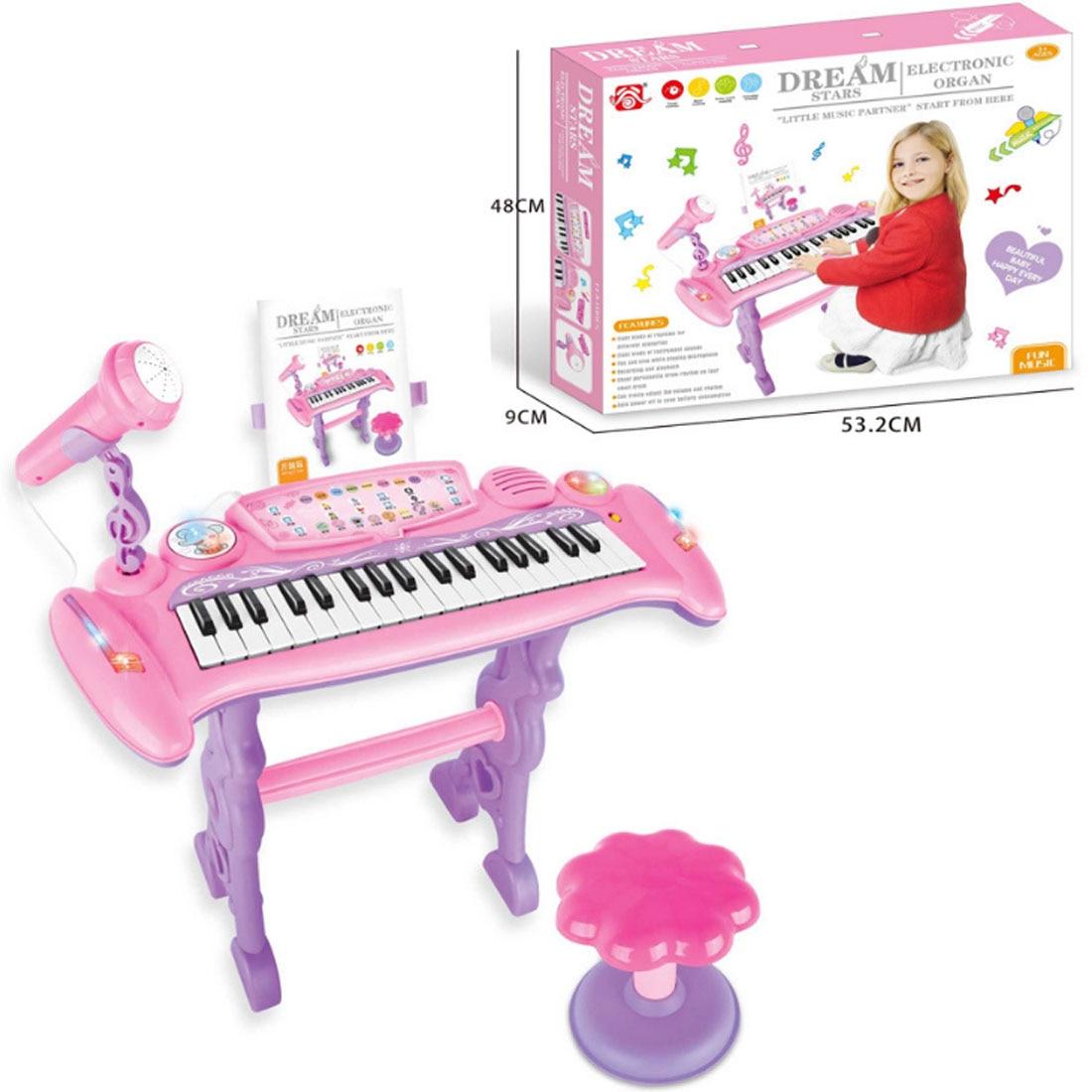 Juguete Musical Chargable para niños 37 teclas de órgano electrónico con micrófono y taburete para niñas juguetes de educación temprana para niños - 6