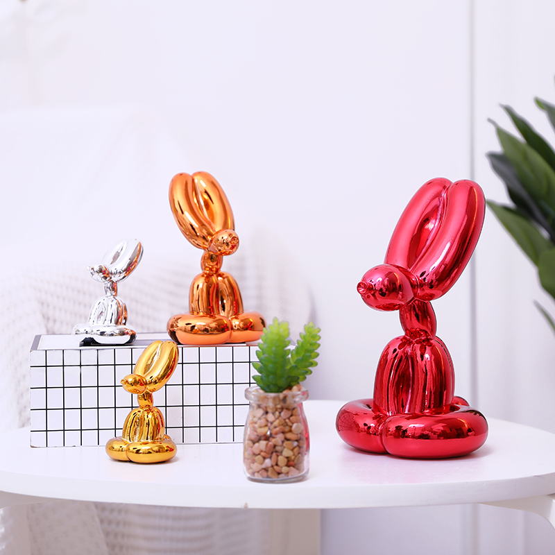 Mignon brillant ballon lapin abstrait artisanat résine Statue décor à la maison Art Sculpture