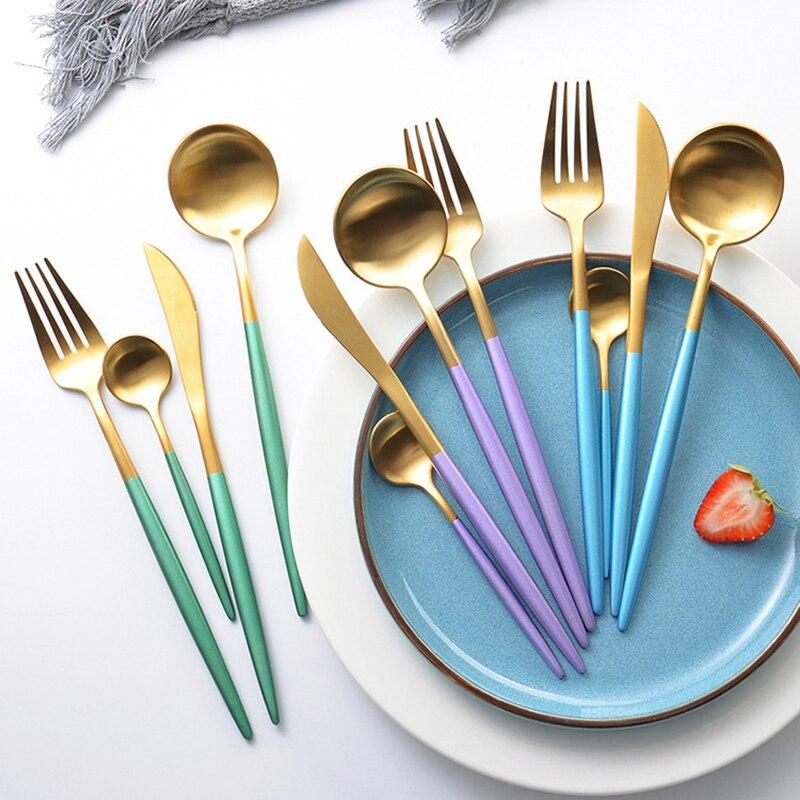 24Pcs/set Cutlery Set Green Blue Pink Black Gold Dinnerware 304 Stainless Steel Flatware Silverware Tableware Set Drop Shipping