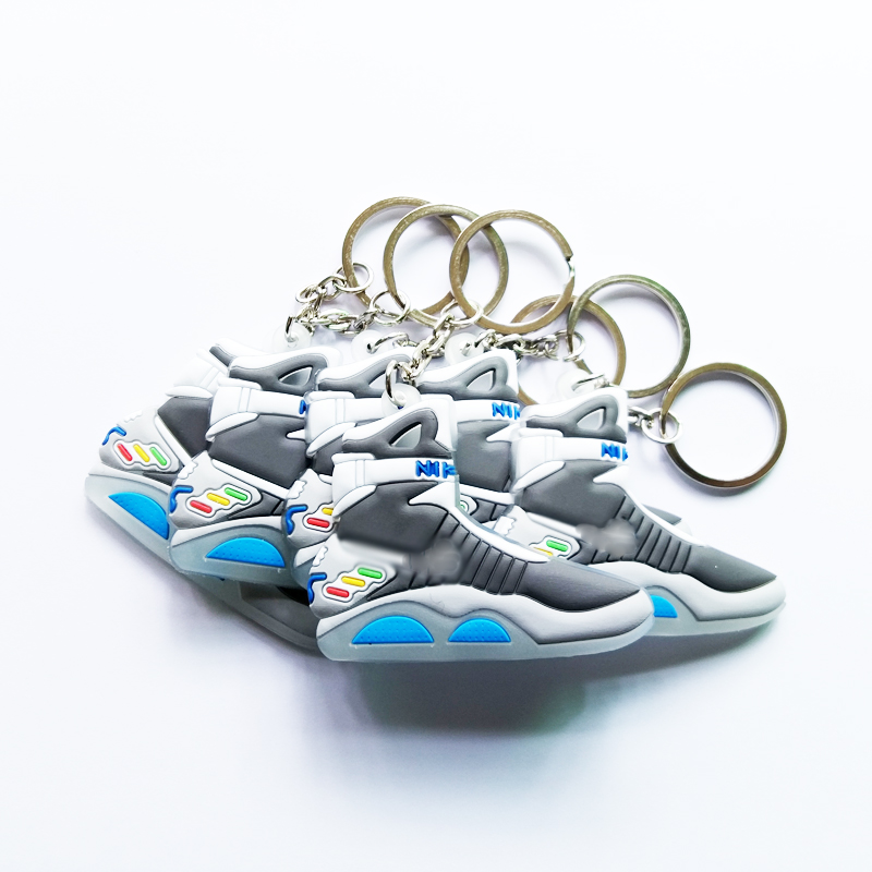 Mix 12pcs/lot Back To The Future II Glow In The Dark Air Mag Key Chain, Sneaker Keychain Key Chain Key Ring Key Holder Gift