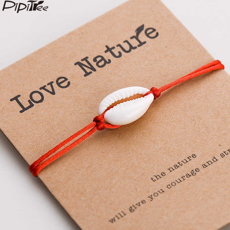 Pipitree Love Nature Shell Charm Bracelet Kraft Paper Wish Card Gift Handmade Red String Bracelets for Women Men Kids Jewelry