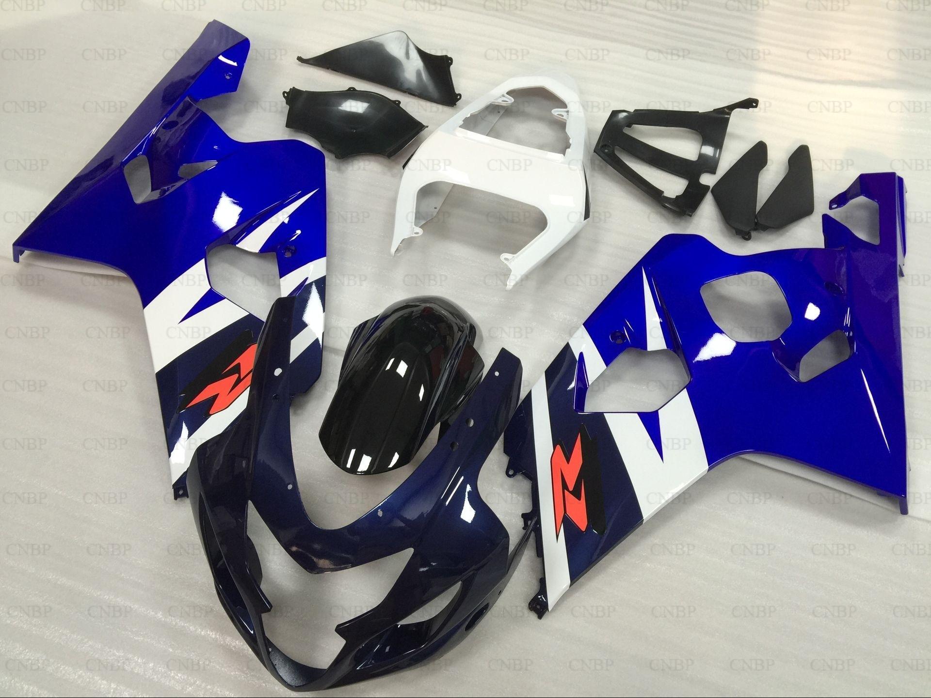 Abs обтекатель GSXR750 2005 Пластик Обтекатели GSX R750 2004 2004 2005 K4 синий черный всего тела Наборы GSX R600 04