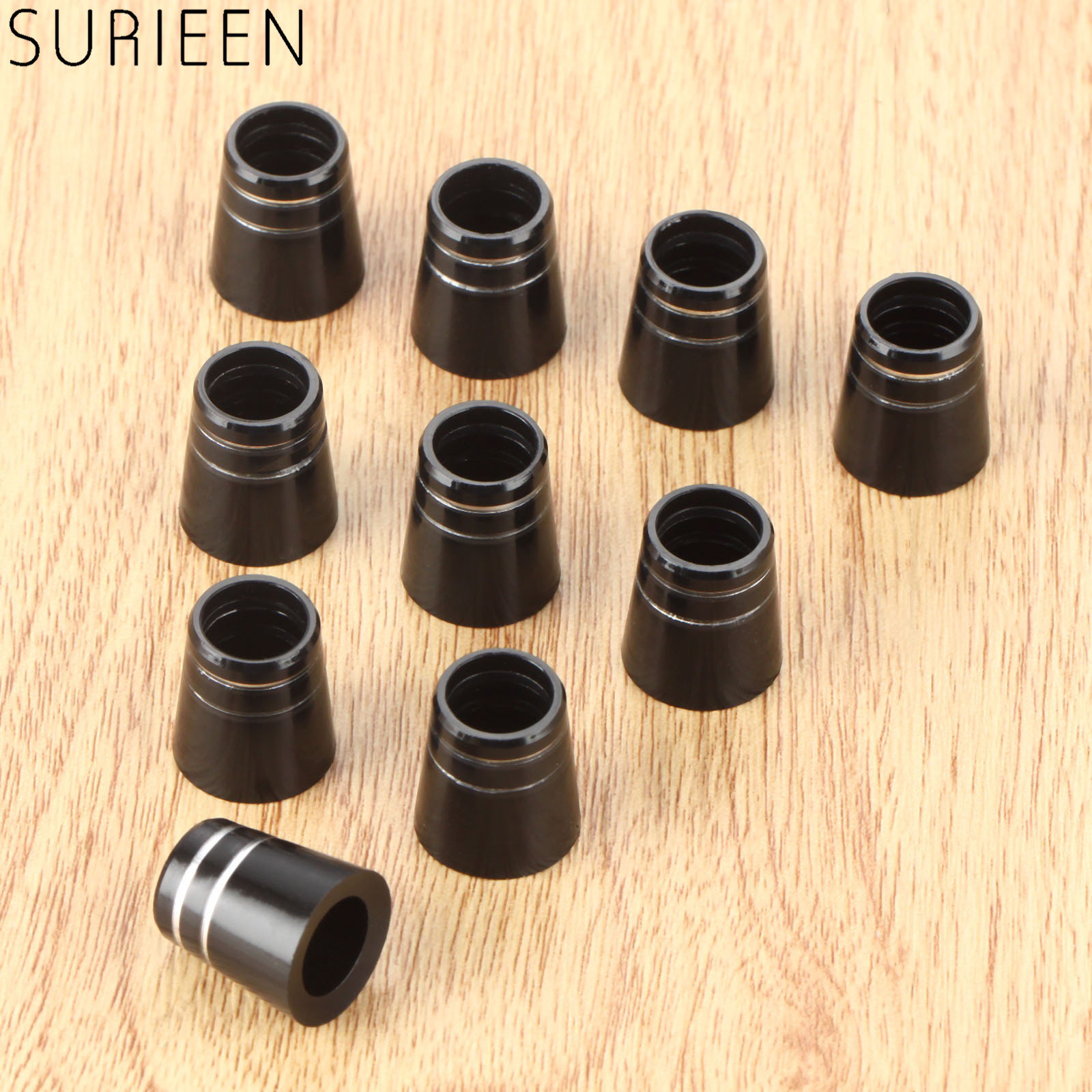 SURIEEN 10pcs Plastic Golf Club Ferrules With Double Ring For 0.335 Inch Tip Irons Shaft 15mm Golf Sleeve Ferrule Replacements
