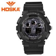 2017 Marca HOSKA impermeable deporte hombres relojes hombres digital reloj de Cuarzo del estudiante niño de dos pantalla Muchachos digital-reloj
