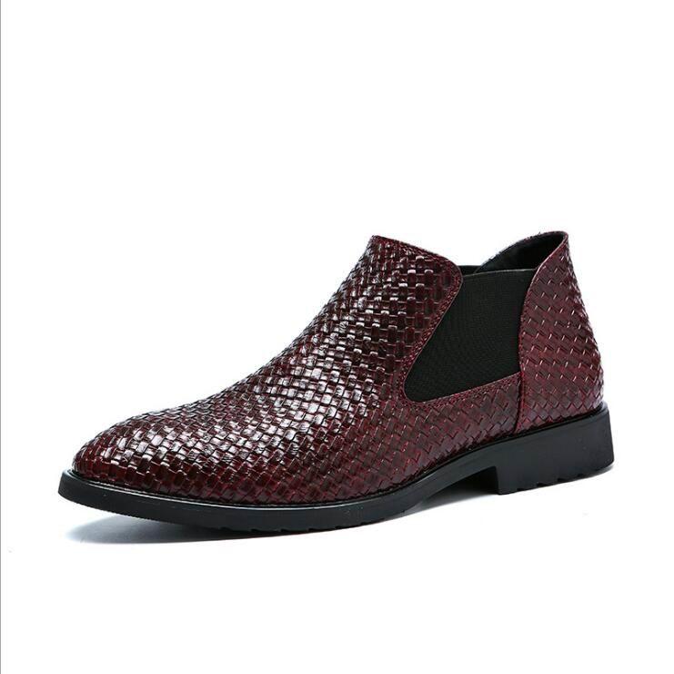 38 bleu Errfc Hommes Boot Brun Cuir Chaussures 44 Bottines Ronde Chelsea Tricot De Noir Vente Taille rouge Hot New Courtes Bout Casual En marron Noir Mode 3j4R5LqA