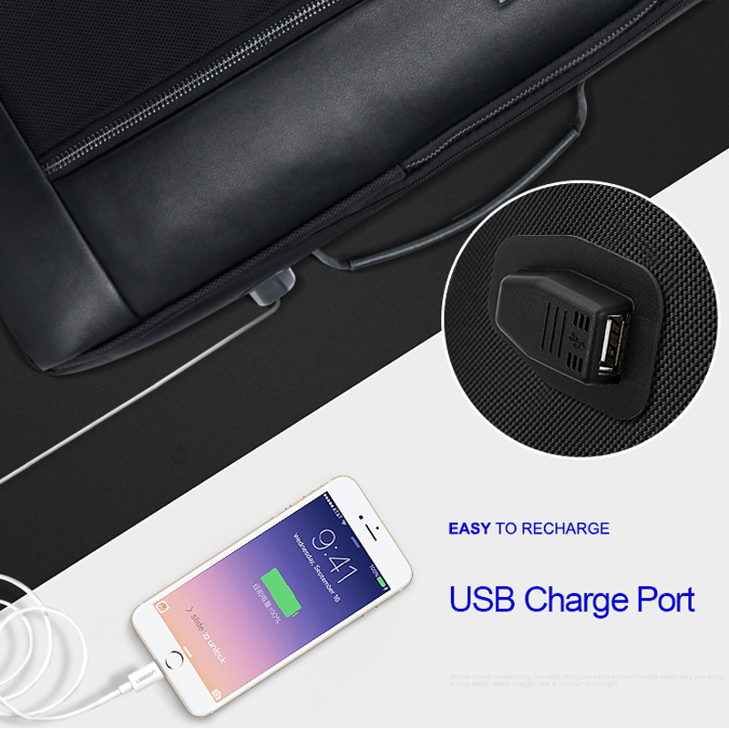 Image 4 - BOPAI USB Charge Bagpack Men Black Leather Backpack School Bags Hidden Pocket Anti Theft Backpack Men Laptop Backpack sac a dos-in Backpacks from Luggage & Bags
