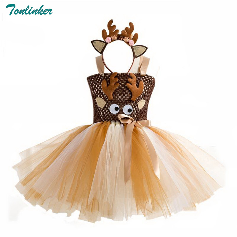 Christmas Costumes For Girls Deer Tutu Dress With Headband Girl Carnival Costume Set For Kids New Year's Costumes Party Dress