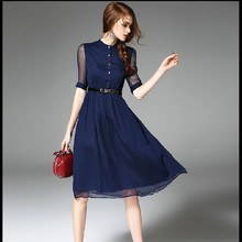 H2500 women top grade new fashion elegant vestidos summer spring bodycon work office long runway silk shirt red blue dress