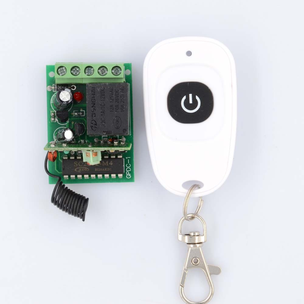 DC 12V 1Channel RF Wireless Remote Control Relay Receiver kit with 2 Transmitters Fixed Code Momentary dc 12v 1 channel rf wireless remote control 3 pcs receiver