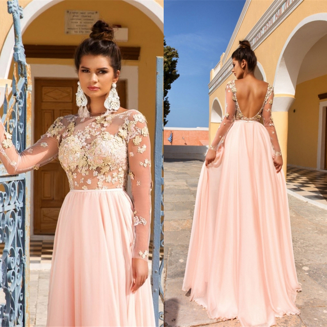 Fashion 2017 Blush Prom Dresses Long Sleeves A Line Applique Top ...