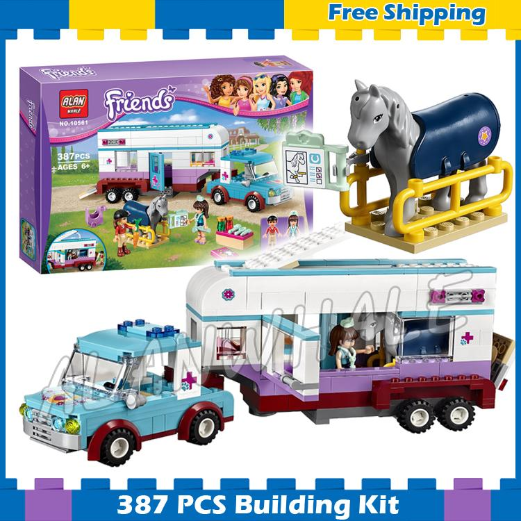 387pcs Friends Series Horse Vet Trailer Riders Truck Cars 10561 Model Building Blocks Assemble Gifts sets Compatible With lego