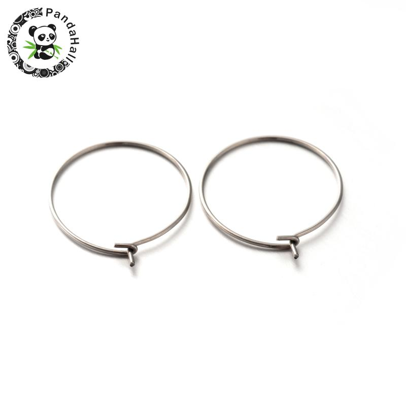 200pcs Fashion Stainless Steel Big Hoop Earring Wine Glass Charms Rings Cheap Jewelry Accessories fashion woman earrings F80 image