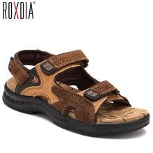 ROXDIA אמיתי עור חדש אופנה קיץ לנשימה גברים סנדלי חוף נעלי גברים סיבתי נעליים בתוספת גודל 39 44 RXM002